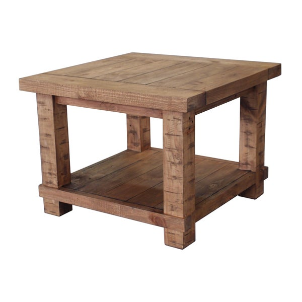 Country Weathered Pine Wood Lamp Table