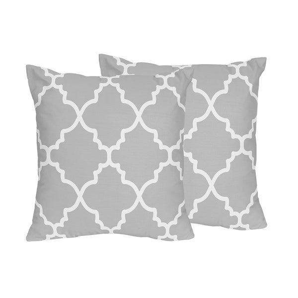 Small Gray Decorative Pillow : Sweet Jojo Designs Trellis Collection Grey and White Lattice Print Throw Pillows (Set of 2 ...
