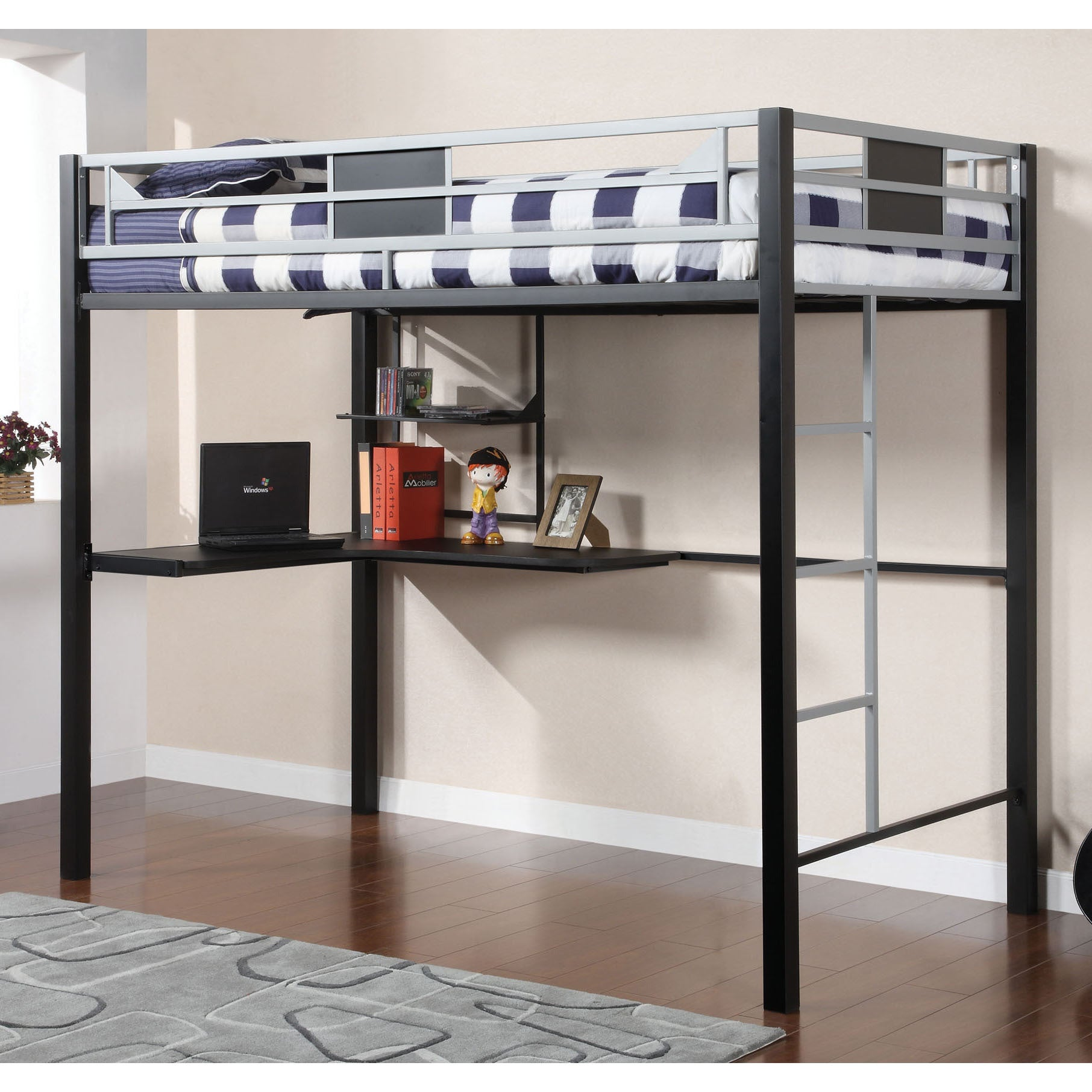 Furniture of America Quis Modern Black Full Loft Bed with Workstation