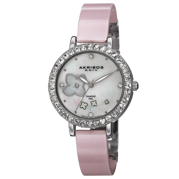Akribos XXIV Women's Swiss Quartz Flower Design Dial Ceramic Silver-Tone Bracelet Watch with FREE Bangle