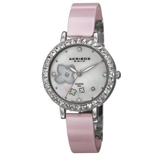 Akribos XXIV Women's Swiss Quartz Flower Design Dial Ceramic Silver-Tone Bracelet Watch