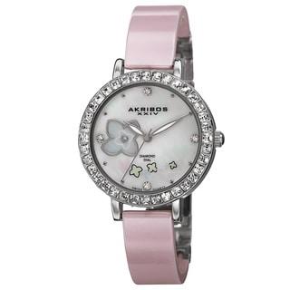 Akribos XXIV Women's Swiss Quartz Flower Design Dial Ceramic Silver-Tone Bracelet Watch