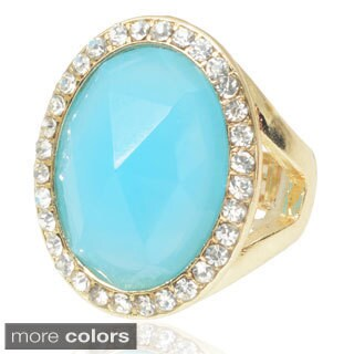 Journee Collection Brass Cubic Zirconia Stretch Statement Ring