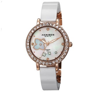 Akribos XXIV Women's Swiss Quartz Flower Design Dial Ceramic Rose-Tone Bracelet Watch