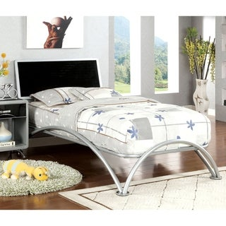 Furniture of America Armande Silver & Black Metal Platform Bed