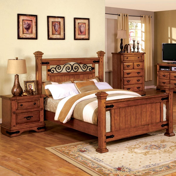 shop furniture of america 2 piece country style american oak bed with nightstand set free. Black Bedroom Furniture Sets. Home Design Ideas
