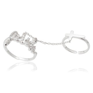 Journee Collection Sterling Silver Cubic Zirconia Knuckle Harness Ring