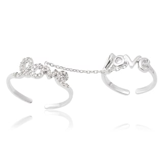 Journee Collection Sterling Silver Cubic Zirconia 'Love' Knuckle Harness Ring