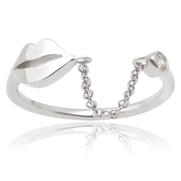 Journee Collection Sterling Silver Cubic Zirconia Midi Knuckle Ring