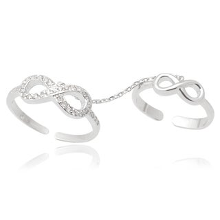 Journee Collection Sterling Silver Cubic Zirconia Infinity Knuckle Harness Ring