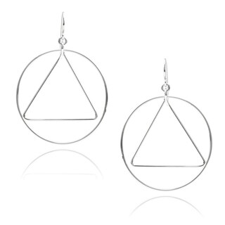Journee Collection Sterling Silver Circle Triangle Earrings
