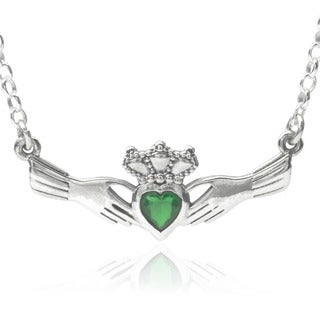 Journee Collection Sterling Silver Cubic Zirconia Claddagh Pendant