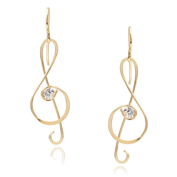 Journee Collection Sterling Silver Cubic Zirconia Music Note Earrings
