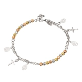 Journee Collection Sterling Silver Rosary Bracelet