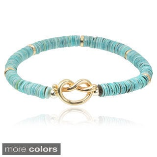 Journee Collection Brass Beaded Stretch Bracelet