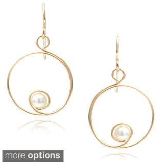 Journee Collection Sterling Silver Faux Pearl Handmade Spiral Earrings