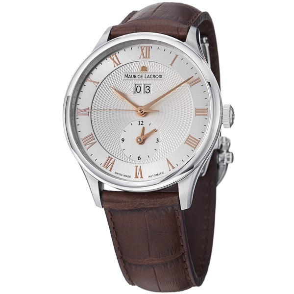 Maurice Lacriox Men's 'MasterPieceTraditional' Silver Dial Brown Leather Strap Watc. Opens flyout.