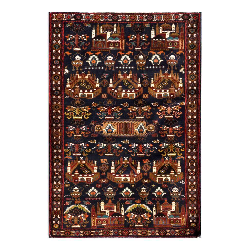 Handmade Herat Oriental Afghan 1960s Semi-antique Tribal Balouchi Wool Rug (Afghanistan) - 311 x 59 (Navy/Brown - 311 x 59)