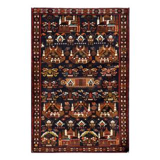 Herat Oriental Semi-antique Afghan Hand-knotted Tribal Balouchi Navy/ Brown Wool Rug (3'11 x 5'9)