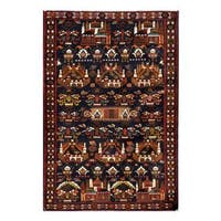 Herat Oriental Afghan Hand-knotted 1960s Semi-antique Tribal Balouchi Wool Rug (3'11 x 5'9) - 3'11 x 5'9