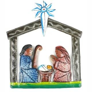 Handmade Mini Painted Recycled Steel Drum Nativity Scene (Haiti)