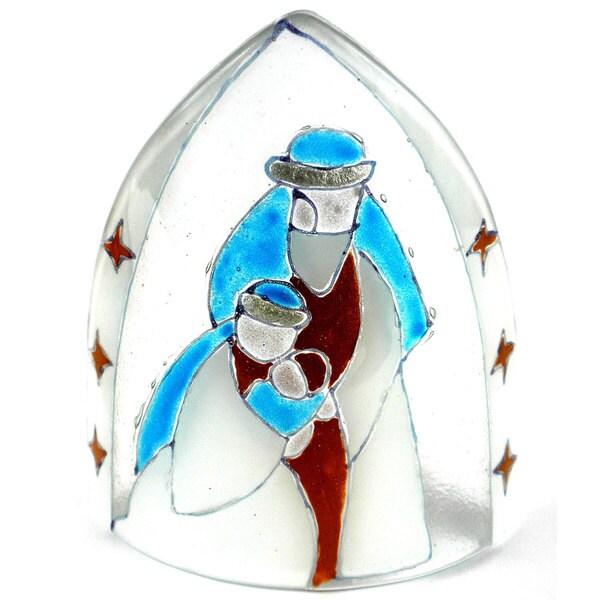 Handmade Artisan Glass Nativity Candle Shade (Chile)