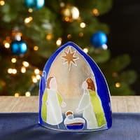 Handmade Blue Artisan Glass Nativity Candle Shade (Chile)