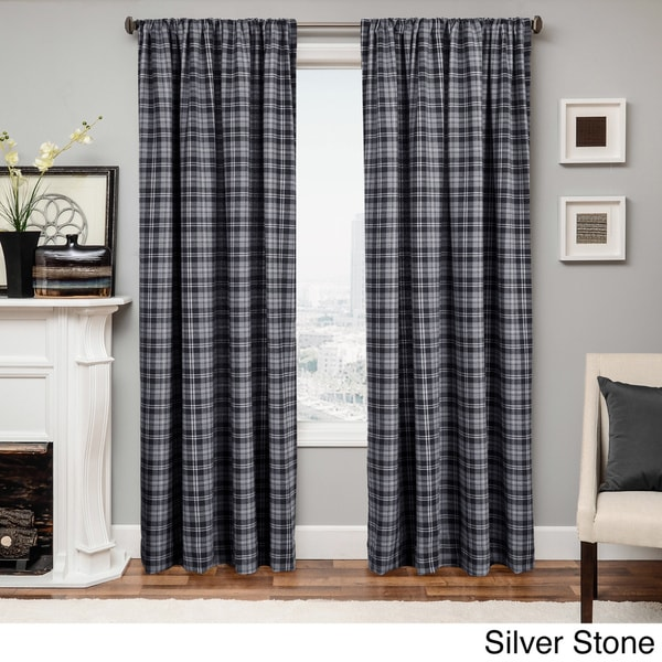 Softline Don Check Wool Blend Curtain Panel