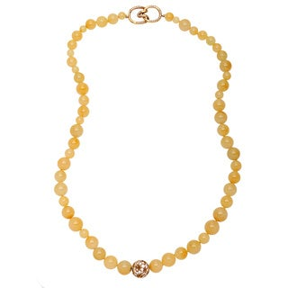 Pre-owned Tiffany & Co. 18k Yellow Gold 2 1/4ct TDW Diamond and Moss Agate Necklace (G-H, VS1-VS2)