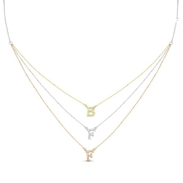 Sterling Silver Cubic Zirconia Graduated 3-strand BFF Necklace