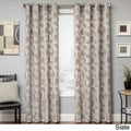 Astra Grommet Top Faux Linen Embroidered Leaf Curtain Panel