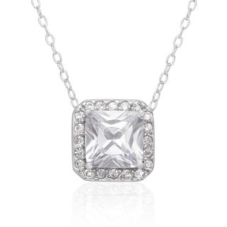 Dolce Giavonna Sterling Silver Cubic Ziconia Necklace