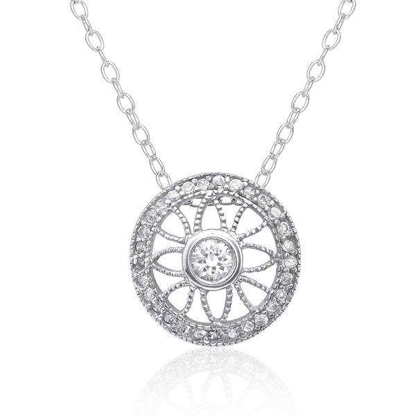 Dolce Giavonna Sterling Silver Cubic Ziconia Circle Necklace