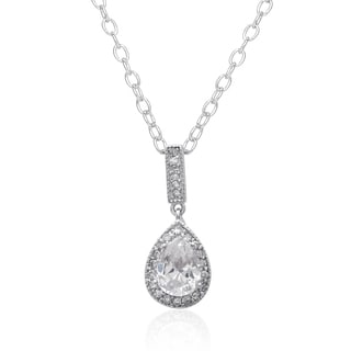 Dolce Giavonna Sterling Silver Cubic Ziconia Teardrop Necklace