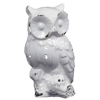 Antique White Ceramic Owl