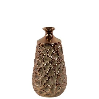 UTC11103: Ceramic Bottle Vase with Crumpled Design and Polished Chrome Top SM Rough Finish Gold