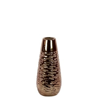 UTC11115: Ceramic Round Vase SM with Crumpled Design Polished Chrome Top and Rounded Bottom Dimpled Rough Finish Gold