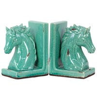 UTC11151: Stoneware Horse Head on Base Bookend Set of Two Distressed Gloss Finish Cyan