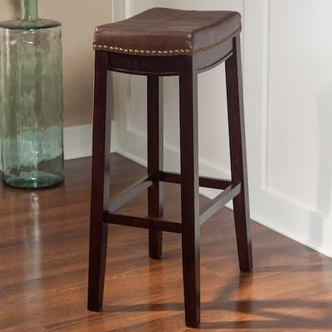 Linon Manhattanesque Backless Bar Stool, Brown Vinyl Seat