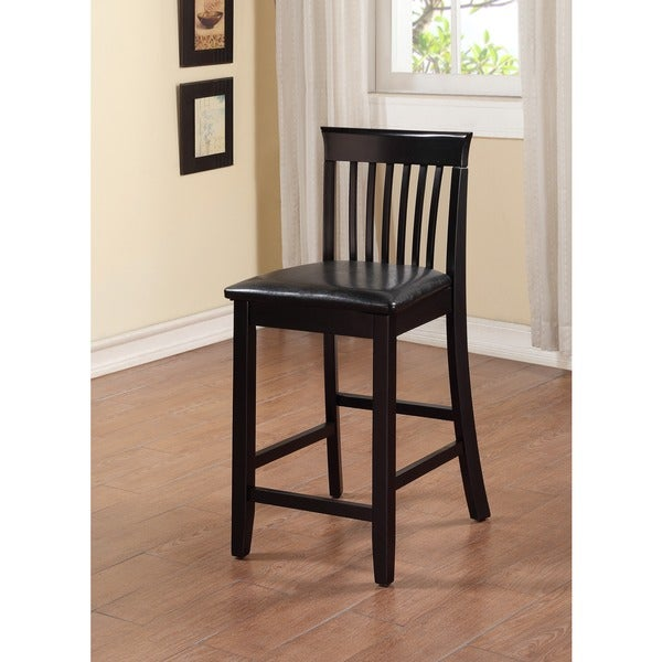 Linon Piedmont Black Slat Back Counter Stool Free