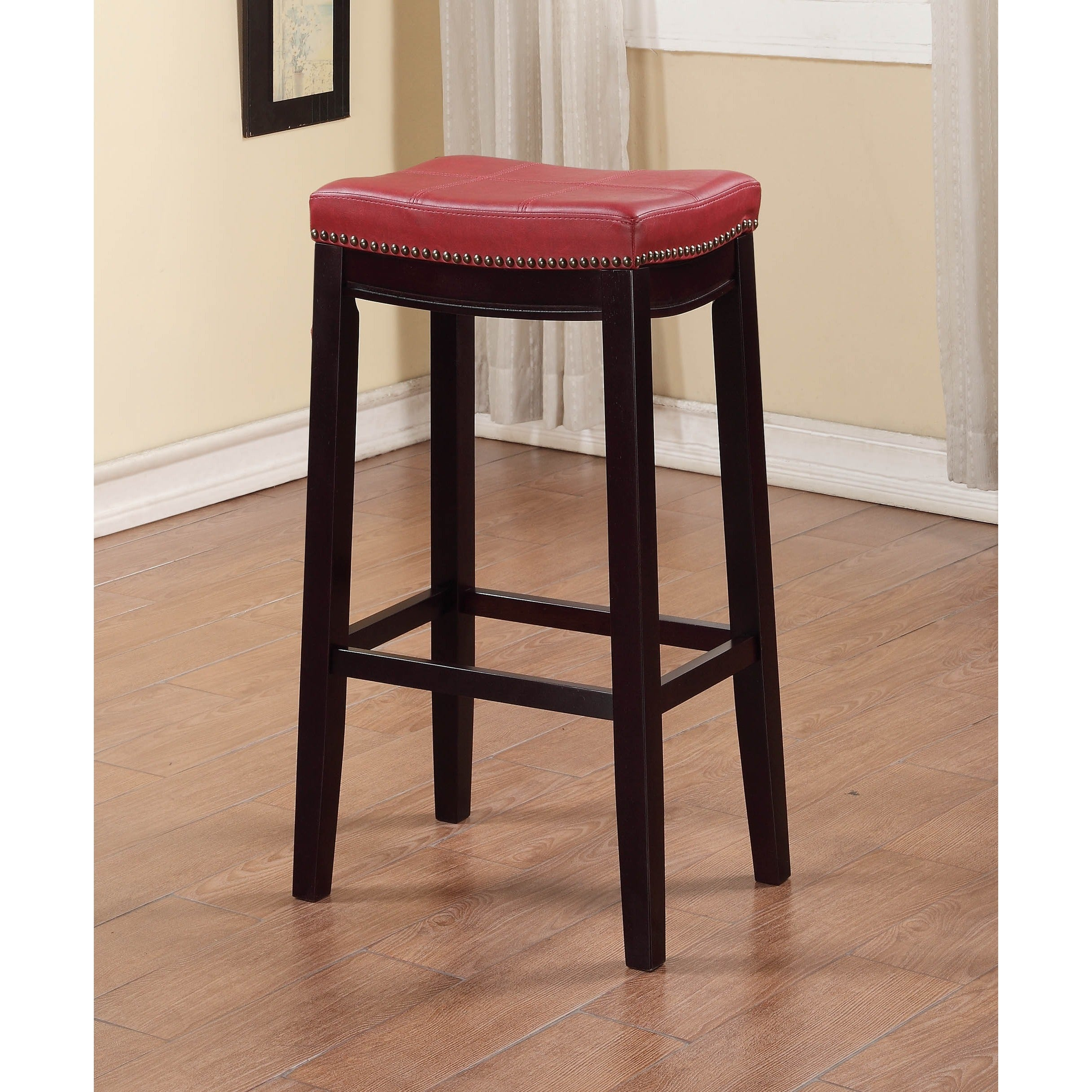 Fabulous Linon Backless Bar Stool With Red Vinyl Seat Unemploymentrelief Wooden Chair Designs For Living Room Unemploymentrelieforg
