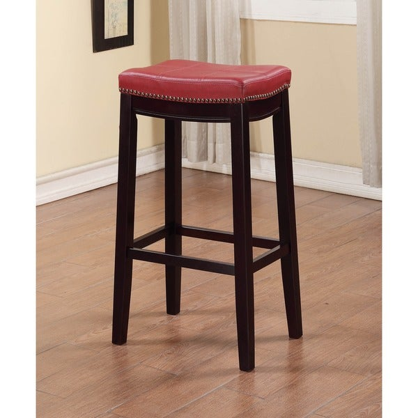 Shop Linon Backless Bar Stool With Red Vinyl Seat Free