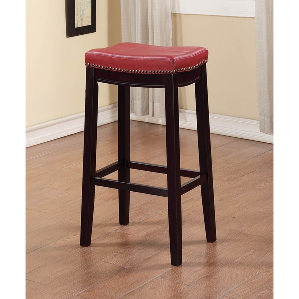 Linon Backless Bar Stool With Red Vinyl Seat Free