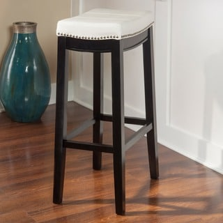 Linon Manhattanesque Backless Bar Stool, White Vinyl Seat