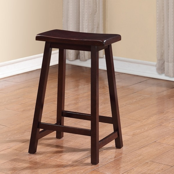 Linon Curved Seat Backless Stationary Counter Stool