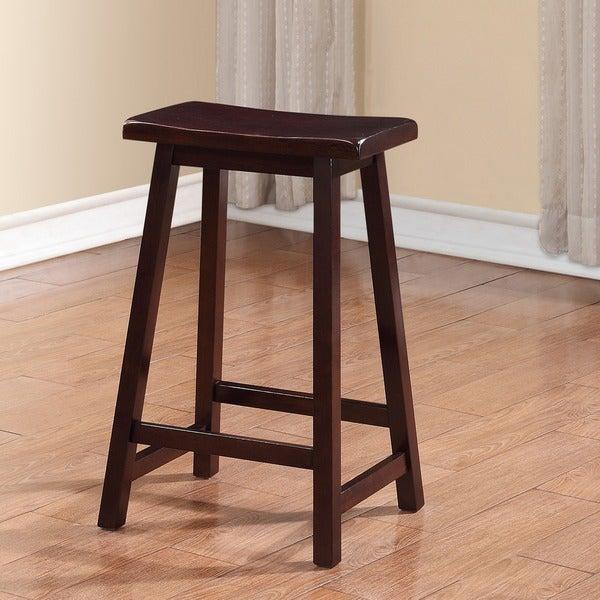 Linon Dark Brown Rubberwood Curved Seat Backless Stationary Counter Stool