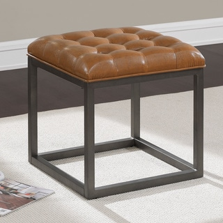 healy saddle brown mini ottoman - Brown Leather Ottoman