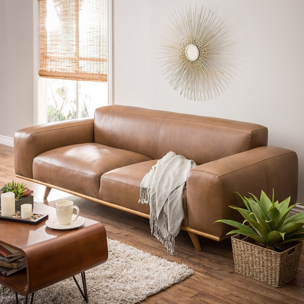 Dante Italian Oxford Tan Leather Sofa - Dante Italian Oxford Tan Leather Sofa - Free Shipping Today