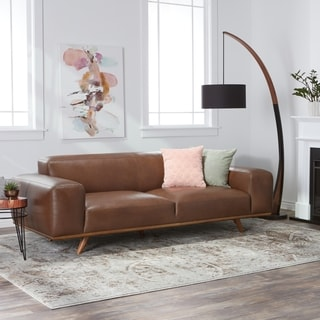Clearance. Palm Canyon Dante Italian Oxford Brown Leather Sofa