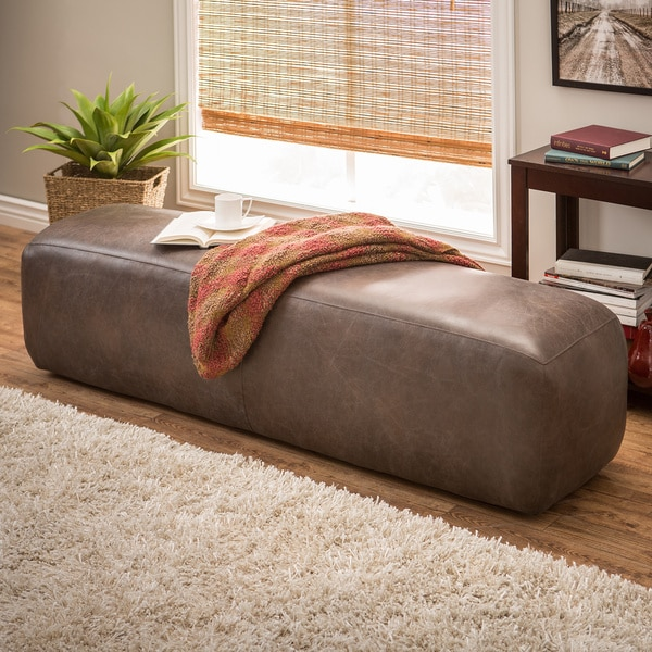 Dante italian oxford brown leather bench free shipping for Canape oxford honey leather sofa